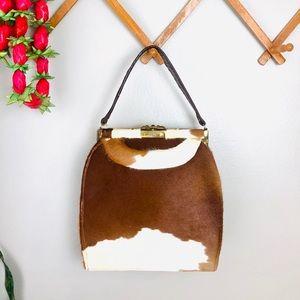 Vintage Cowhide Brown Fur Handbag